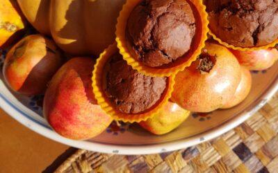 Muffin doppio cioccolato senza zucchero, senza burro, senza lattosio